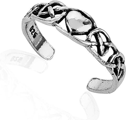 CELTIC BRAID DESIGN ANTIQUED TOE RING 925 STERLING SILVER