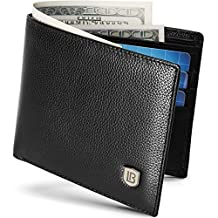 BOSTANTEN Men's RFID Blocking Vintage Genuine Leather Bifold Wallet Black