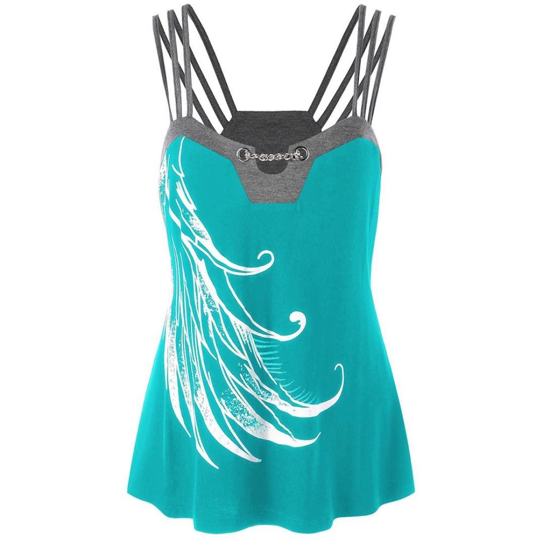 MOIKA Damen Tank Tops, New Frauen Plus Größe Riemchen Tank Tops Ketten Verziert Bluse Ärmelloses Shirt