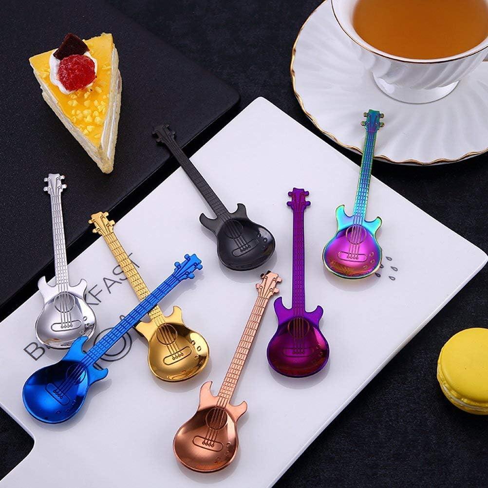Cuill/ères /à caf/é musicales mignonnes Pour m/élanger//m/élanger//sucre//dessert//confiture//cr/ème glac/ée bleu 1 Cuill/ères /à caf/é color/ées en acier inoxydable pour guitare