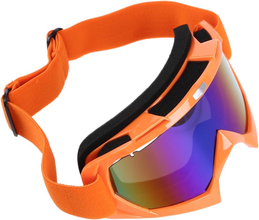 Nrpfell Gafas de Esqui de Motocicleta Resistente a Polvos ATV Fuera de la Carretera de Motocross de un Solo Lente de Color Naranja