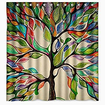 ONEONEY Colorful Tree Of Life Gorgeous Like Feather Bathroom Shower Curtain