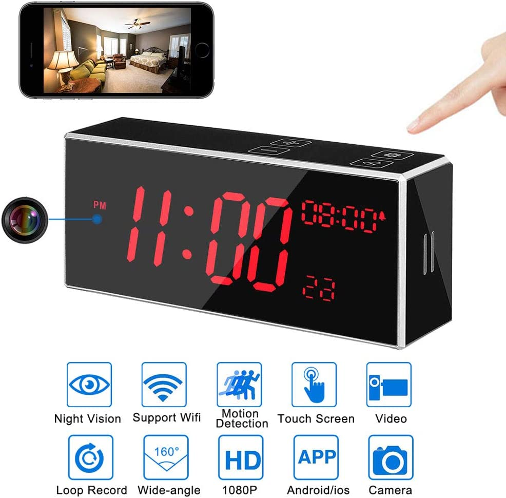 LITSPED Spy Camera, 1080P HD WiFi Hidden Camera Clock with Night Vision,Motion Detection,Video Recording Remote Monitoring with iOS Android App,Baby Monitor Small Wireless Home Security Surveillance