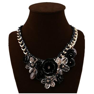 Amazon jewelrylove womens rose acrylic crystal flower choker jewelrylove womens rose acrylic crystal flower choker statement necklaces pendants collier femme black aloadofball Images