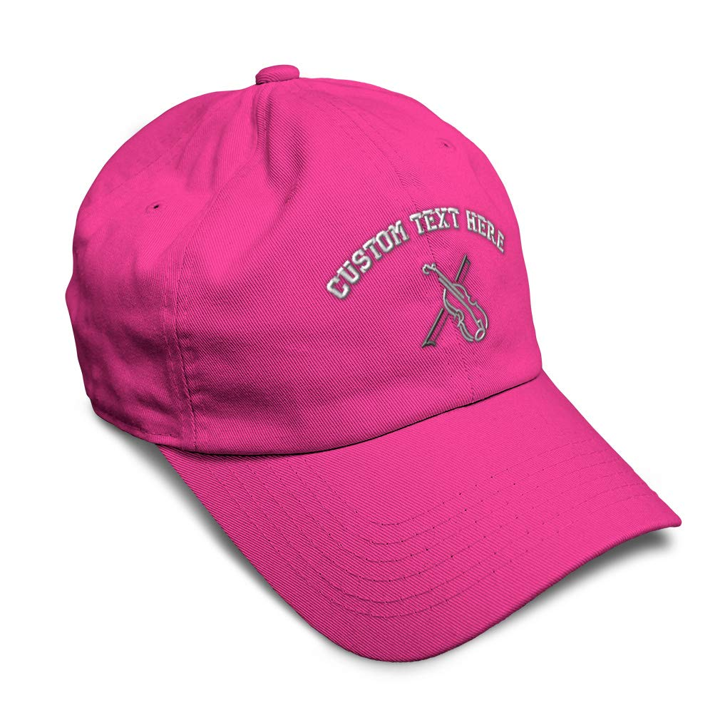Custom Soft Baseball Cap Violin Outline Silver Embroidery Twill Cotton
