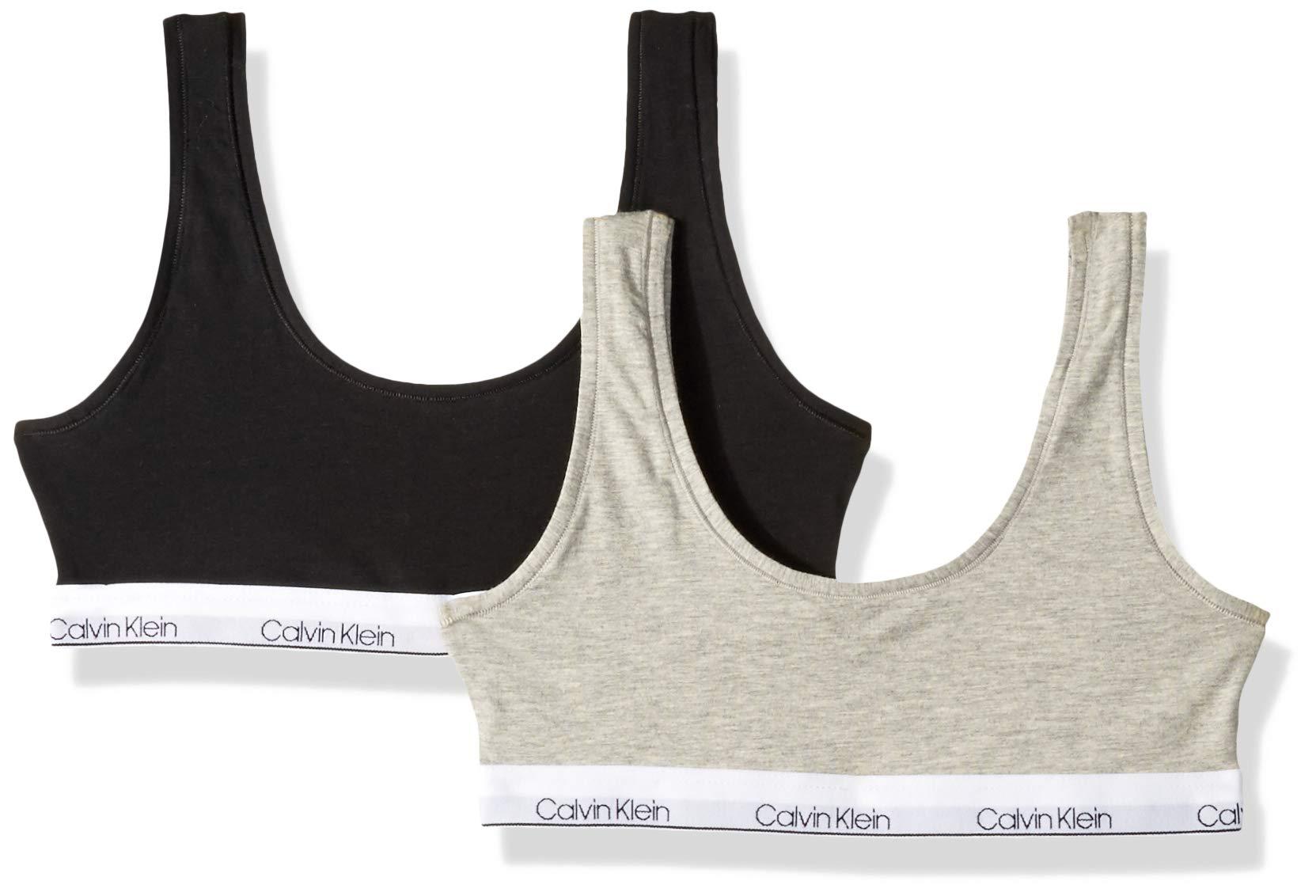 Calvin Klein Big Girls' Modern Cotton Bralette, 2 Pack-Heather Grey, Black by Calvin Klein