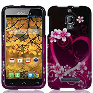 Alcatel One Touch Fierce 7024W Faceplate Hard Plastic Protector Snap-On Cover Case - Purple Love