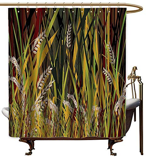 StarsART Shower Curtains Gray and Yellow Nature,Reeds Dried Leaves Wheat River Wild Plant Forest Farm Country Life Art Print Image,Multicolor,W65 x L72,Shower Curtain for Kids ()
