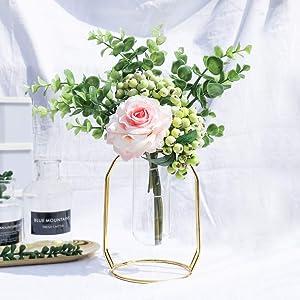Artificial Flowers with Gold Vase Set 1 Piece, Flower Arrangements Fake Rose Berry Eucalyptus Leaves Decor for Home, Living Room, Bathroom Plant-Pink