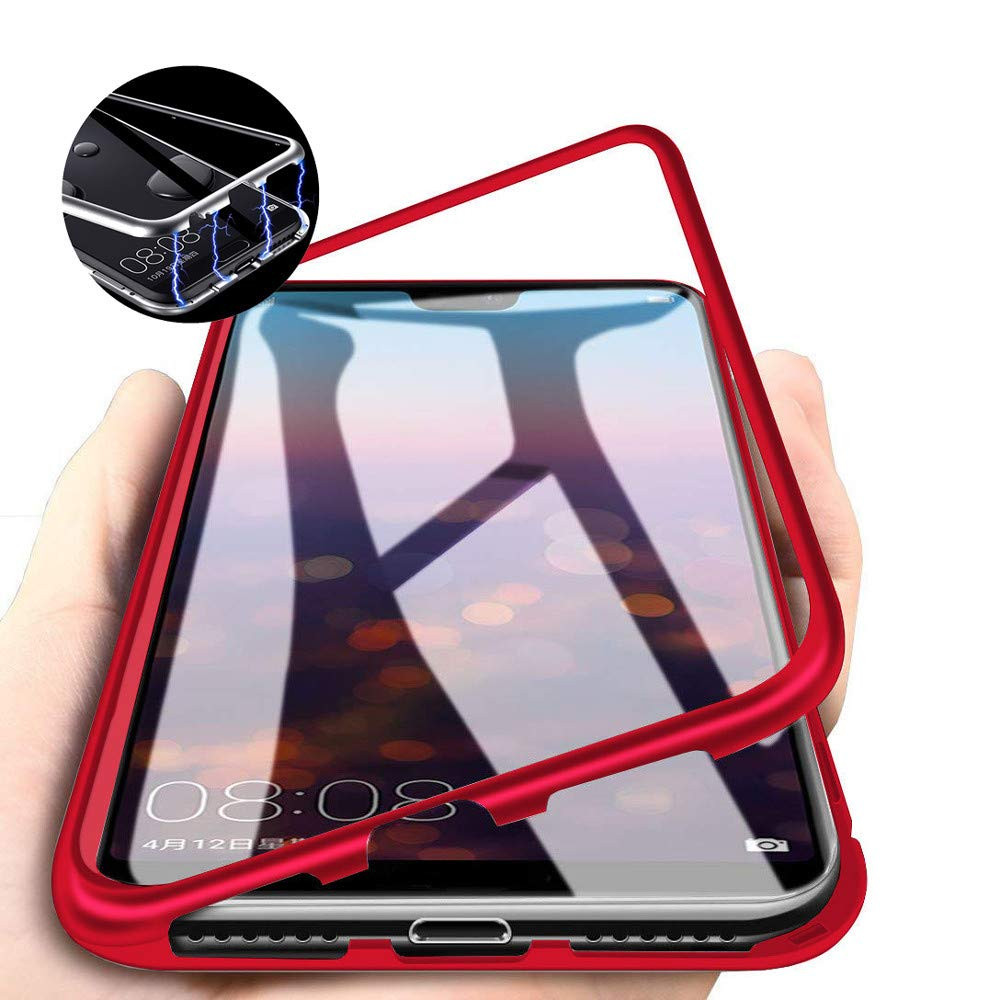 Case Samsung J8 2018 Magnetic Adsorption Tech Case Strong Magnets Built-in Hybrid Aluminum Frame Back Transparent Tempered Glass Scratch Resistance ...
