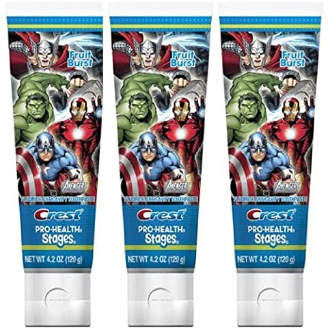 Crest Pro Health Stages Kids Toothpaste, Avengers, 4.2 Ounce, (Pack of 3) (Pro Stages)