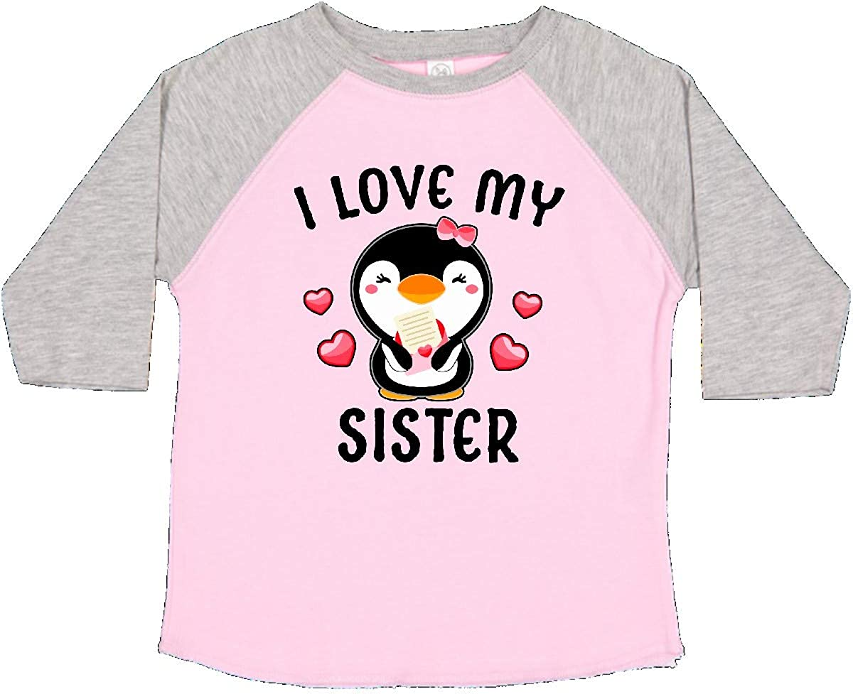 inktastic I Love My Sister with Cute Penguin and Hearts Toddler T-Shirt