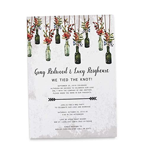 Elopement Wedding Announcement Cards - Marriage Reception Invitation - We Eloped Party Invites - Custom, Personalized, Unique Card Stock - Rustic Vintage ...