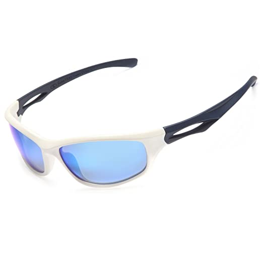2d196a3c3376 Siren Mens Polarized Unbreakable Sunglasses - Blue Mirror Lens White Navy  Frame