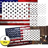 Star Stencil 50 Stars American Flag Stencils for Painting on Wood, Fabric, Airbrush,Reusable Starfield Stencil, (1 Large, 3 Small)