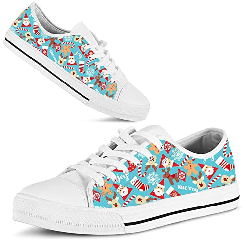 055a96b7b12f6 Hand Painted Printed Canvas Shoe Christmas Reindeer Santa Face Gingerbread  Man Candy Cane Light Blue Pattern Sneakers Low Top Man Woman's Outdoor  Sports ...