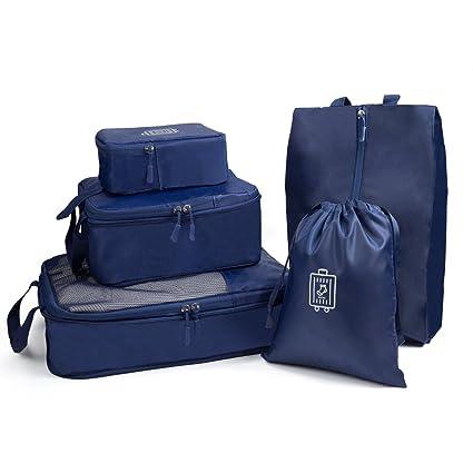 Funria 5 Set de Organizador de Equipaje, Organizadores para Maletas Impermeable Organizador de Maleta Bolsa para Ropa de Viaje, Material Nylon (Azul ...