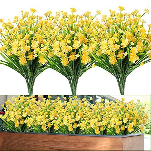 Whonline 12pcs Artificial Flowers Plastic Outdoor UV Resistant Shrubs Plants for Garden Wedding Farmhouse Indoor Outdoor…