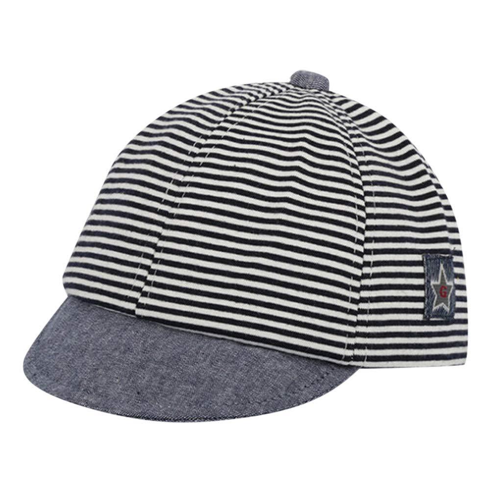 ❤️ Mealeaf ❤️ Toddler Baby Girl Boy Cute Letter Soft Eaves Baseball Cap Sun Beret Hat Striped(0-1 Years )