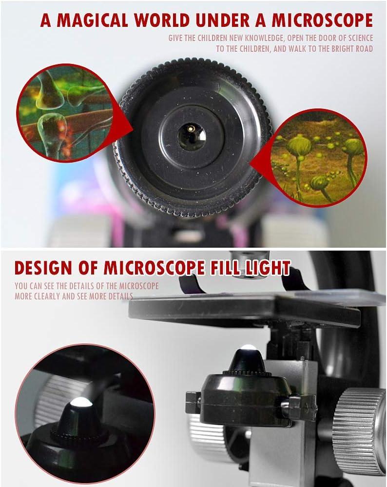 Fr/üherziehungswissenschaft Mikroskop mit LED-Leuchten Optische wissenschaftliches Experiment Lichtmikroskop LSXX Kinder-Mikroskop