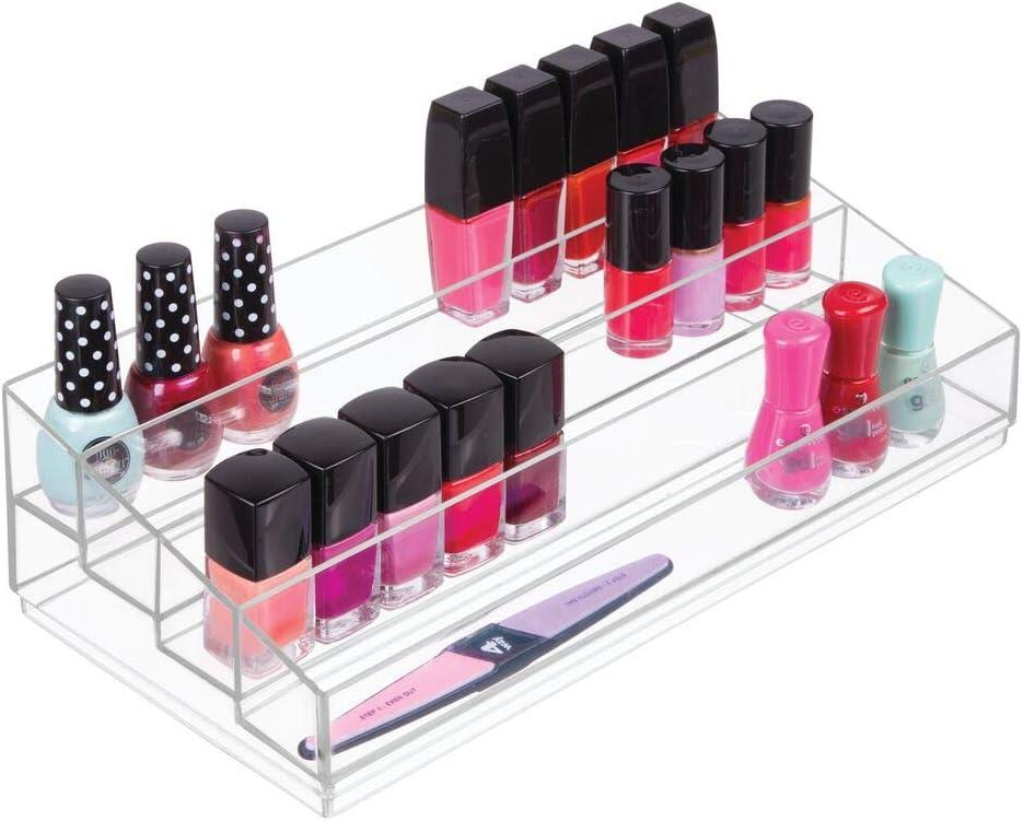 Aufbewahrungsbox f/ür den Waschtisch durchsichtig und gelb Schminktisch oder Schrank mDesign Kosmetik Organizer aus Kunststoff Schminkaufbewahrung mit 9 Steckpl/ätzen