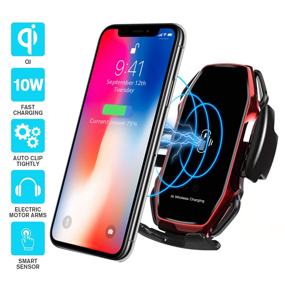 Wireless Car Charger A5 Smart Sensor Wireless Car Charger Mount Red Compatible with iPhone 11//Xs//Xs Max//XR//X//8//8 Plus QI 10W Automatic Clamping Fast Charging Holder Samsung Note 9//S9//S9+//S8