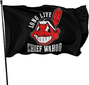 JKVSAICV Live Chief Wahoo Flag 3 X 5 Ft Polyester with Brass Grommets Room Decor Club Outdoor Flag Banner-Tea Party Flags