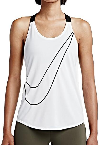 Mujer Nike Elastika Gráfico Camiseta interior, Blanco / Negro, L