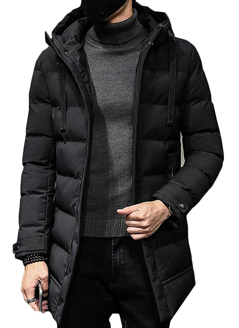 Etecredpow Mens Casual Fleece Hooded Puffer Cotton Padded Parkas Jacket