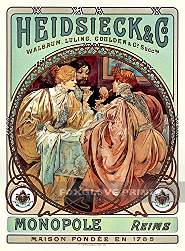 Foxglove Prints Heidsieck & Co. Monopole Reims, Mucha Advertising Poster Print, 24x32 inches ()