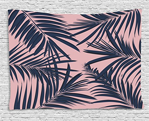 Exotic Tapestry - Ambesonne Navy and Blush Tapestry, Summer Exotic Floral Tropical Palm Tree Leaf Banana Plant Hawaii, Wall Hanging for Bedroom Living Room Dorm, 80 W X 60 L inches, Night Blue Pale Pink