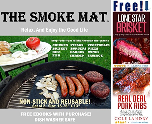 Big Green Reviews Egg (The Smoke Mat ✮ Smoke & Grill Mat All-in-One ✮ Free 140 page Ebook! ✮ Set of 2, 15.75 x 13 in. grill mats ✮ Works great on Big Green Egg, Kamado, Weber, gas & charcoal grills alike.)