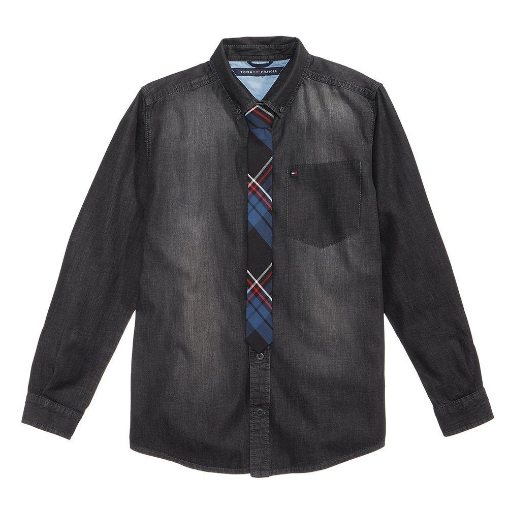 Tommy Hilfiger Niles Denim Cotton Shirt & Tie, Big Boys (8-20) (Cement Wash, Large 16/18)