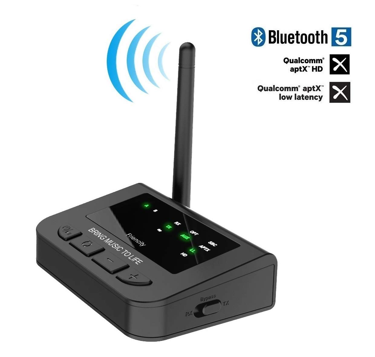 Friencity Long Range Bluetooth 5.0 Transmitter Receiver for TV, Wireless Audio Pass-Thru Adapter with AptX HD & Low Latency, Dual Stream, Digital Aux Optical, Always Play and Re-Connection by Friencity