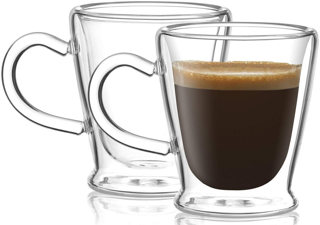 Circleware 44933 Insulated Heat Resistant Glass Coffee Mugs with Handle Set of 2, Beverage Drinking Home Kitchen Entertaining Tea Cappuccino Espresso Shots Glassware Cups, 2.6 oz, Clear