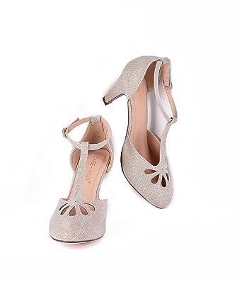 6bfc7e7177f Amazon.com: Nude Sparkle Cutout Kimmy T-Strap Heels: Clothing