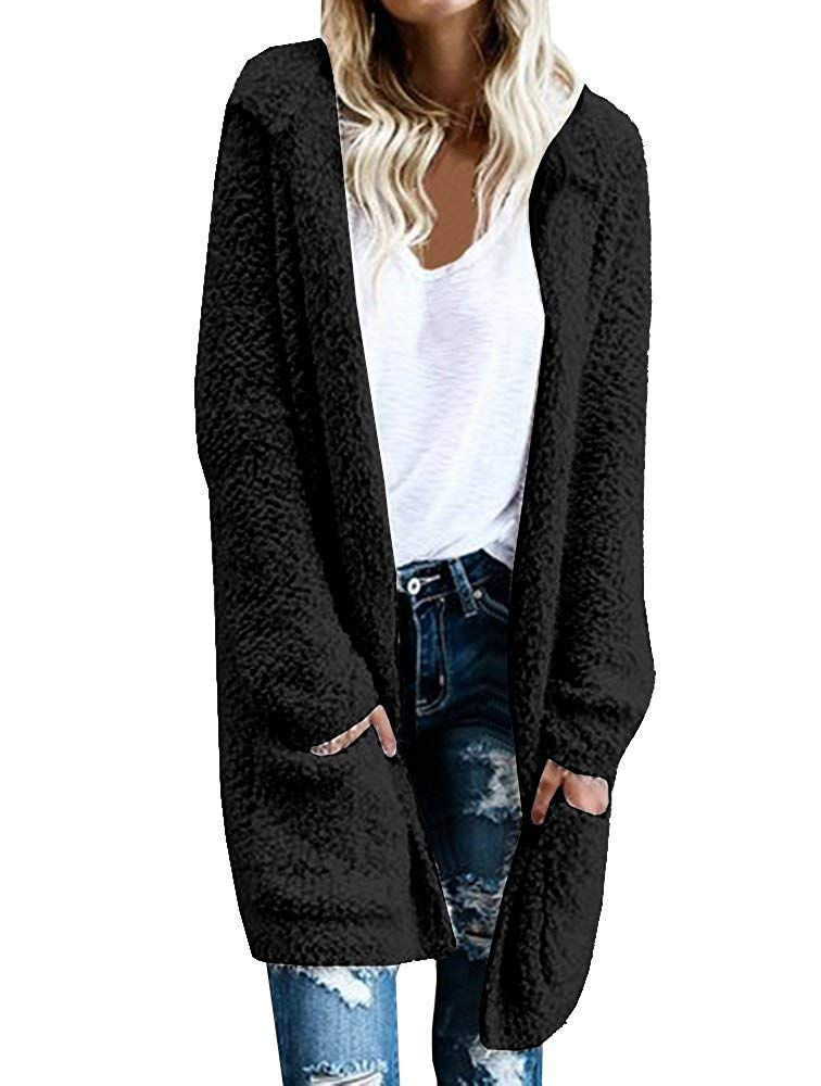 Haloumoning Womens Long Hooded Cardigans Fall Pockets Open Front Knit Plain Sweaters Outwear
