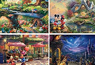 product image for Ceaco (4) 500 Piece Thomas Kinkade - Disney Dreams 4 in 1 Multipack - Alice in Wonderland, Mickey and Minnie Mouse, and The Beauty and The Beast - Ages Kids and Adults