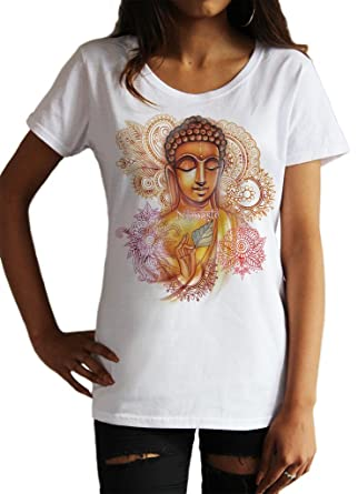 Irony Camiseta de Mujer Yoga Top Buda Namaste Chakra ...