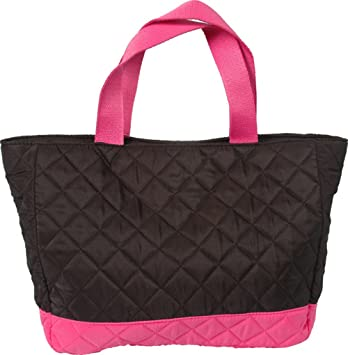 Amazon.com: Threadart Small Quilted Tote Bag - Black/Hot Pink: Beauty : quilt tote bag - Adamdwight.com