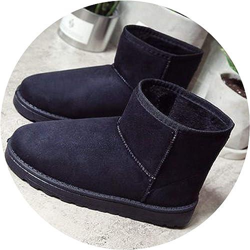 Summer-lavender Winter Ankle Boots Flock Warm Snow Boots Platform Woman Slip On Flats Women Cotton Boots