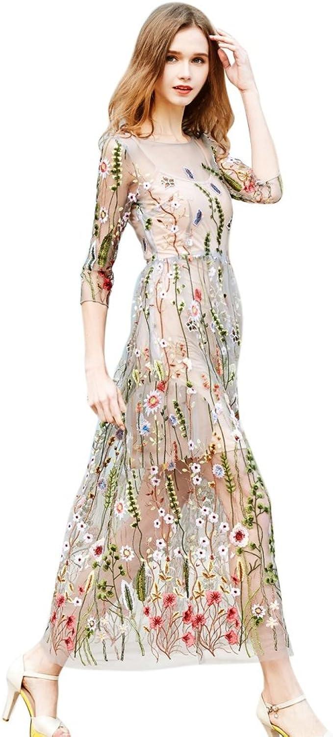 PanDaDa Frauen Floral Bestickt Sheer Mesh Abendkleid mit Cami