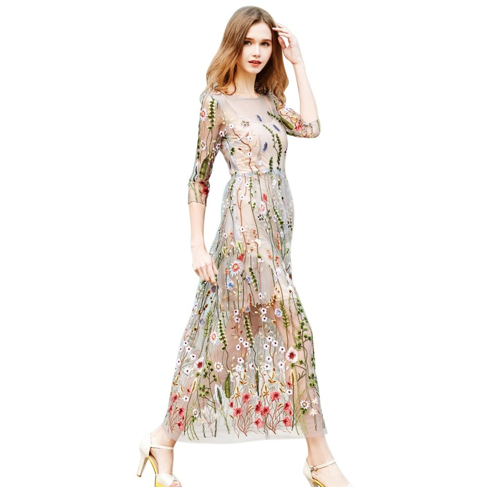 370eca0f90 Color is floral with sheer mesh(under-dresses is included). Material: Mesh;  Fashion Colorful Boho Long Dress for Pretty girl