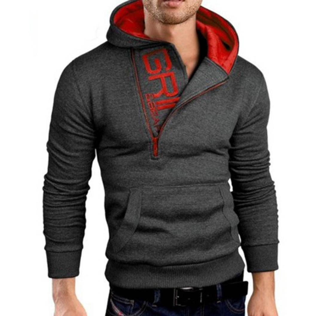 WYTong Men Long Sleeve Hoodie Sweatshirt Letter Print Sports Pullovers With Pouch Pocket (Asian:L, Dark Gray)