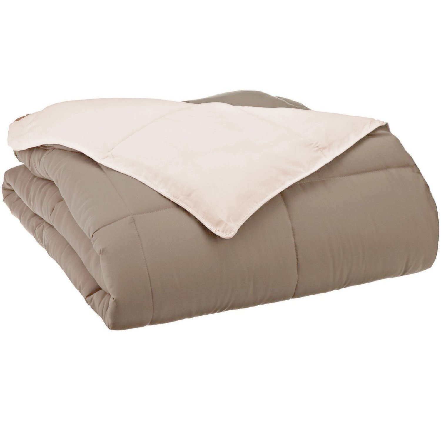Superior Reversible Down Alternative Comforter, Medium Weight Bedding for All Season Use, Fluffy, Warm, Soft & Hypoallergenic - Twin/Twin XL Size, Ivory & Taupe