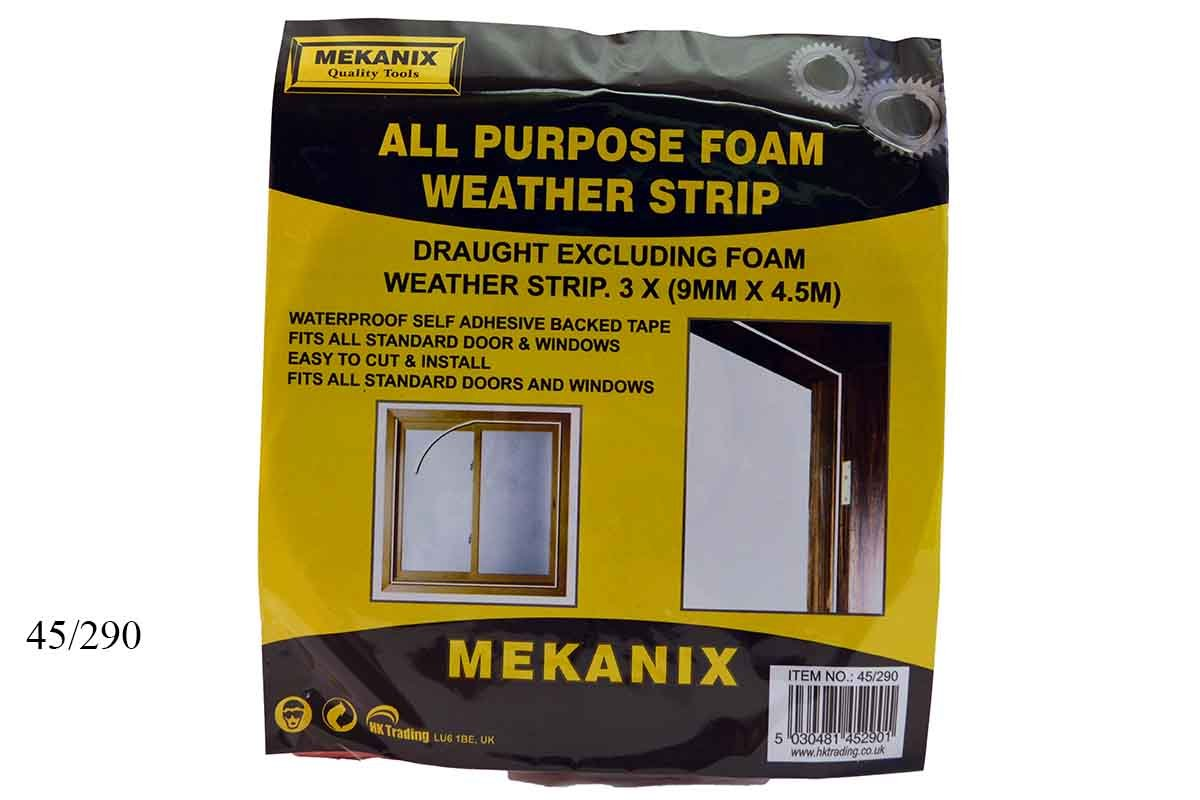108M x SELF ADHESIVE ALL PURPOSE WATERPROOF FOAM DRAUGHT EXCLUDER STRIP WHITE - FREE DELIVERY HK TRADING