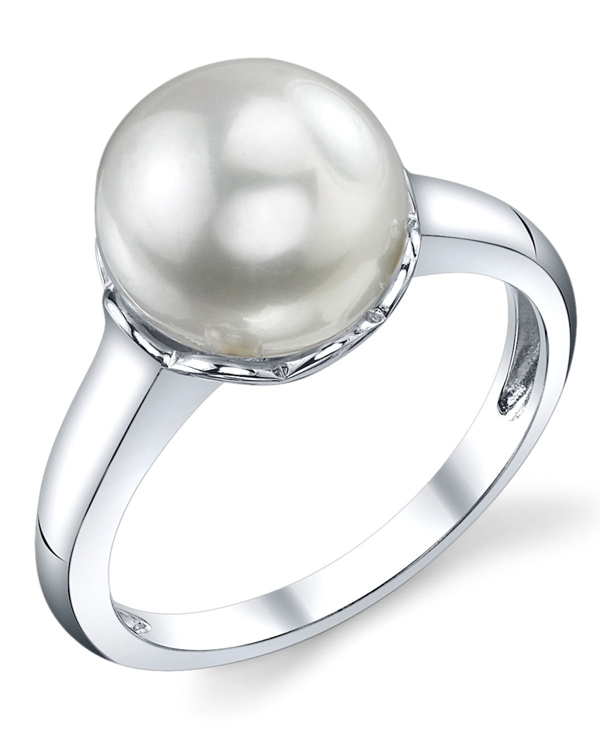 10mm White Freshwater Cultured Pearl Laurel Ring 6.5