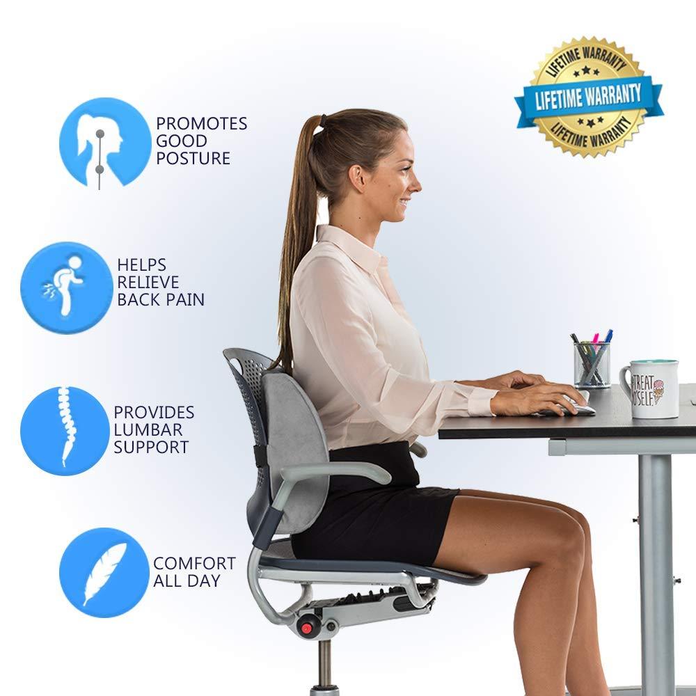 Comfilife Lumbar Support Back Pillow Office Chair And Car Seat