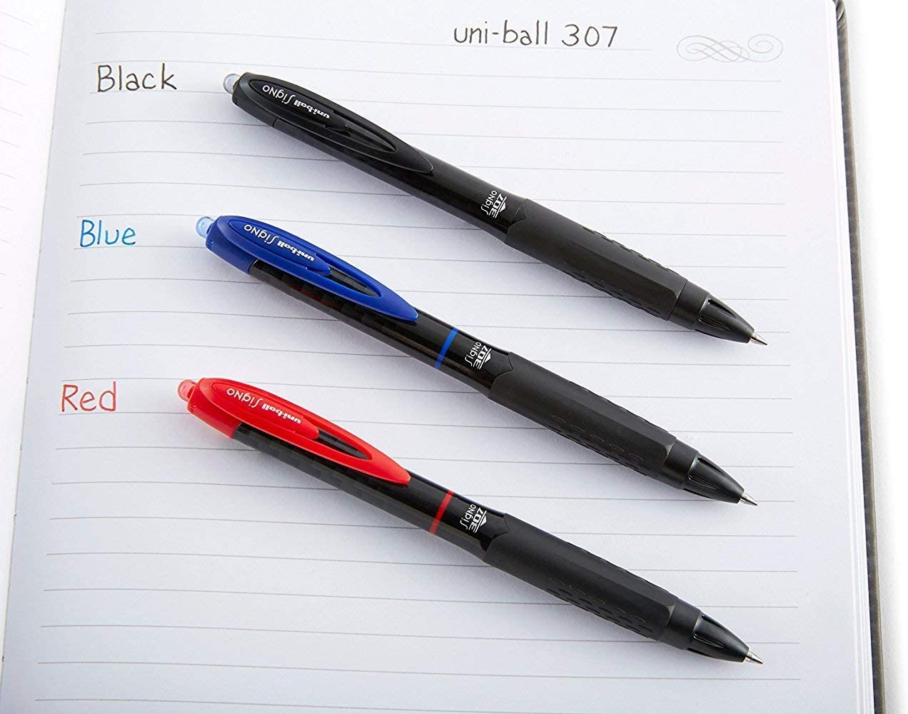 Medium Point 0.7mm Uni-Ball Signo 307 Retractable Gel Ink Pens 3 Blue 3 Red Total of 6