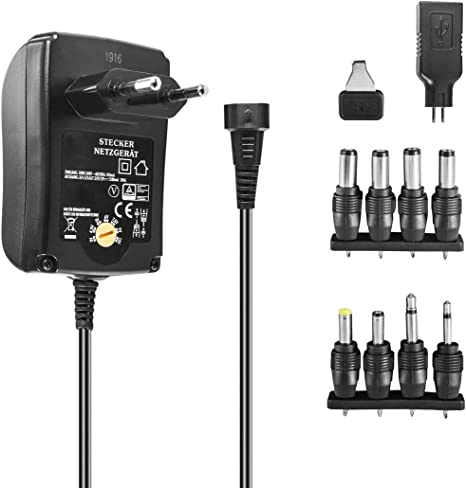 HQ® Universal Netzteil 1500 mA stabilisiert 3V 5V 6V 7,5V 9V 12V AC//DC
